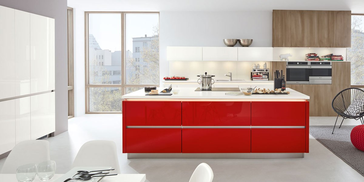 Impuls-Küche-Grifflos-rot