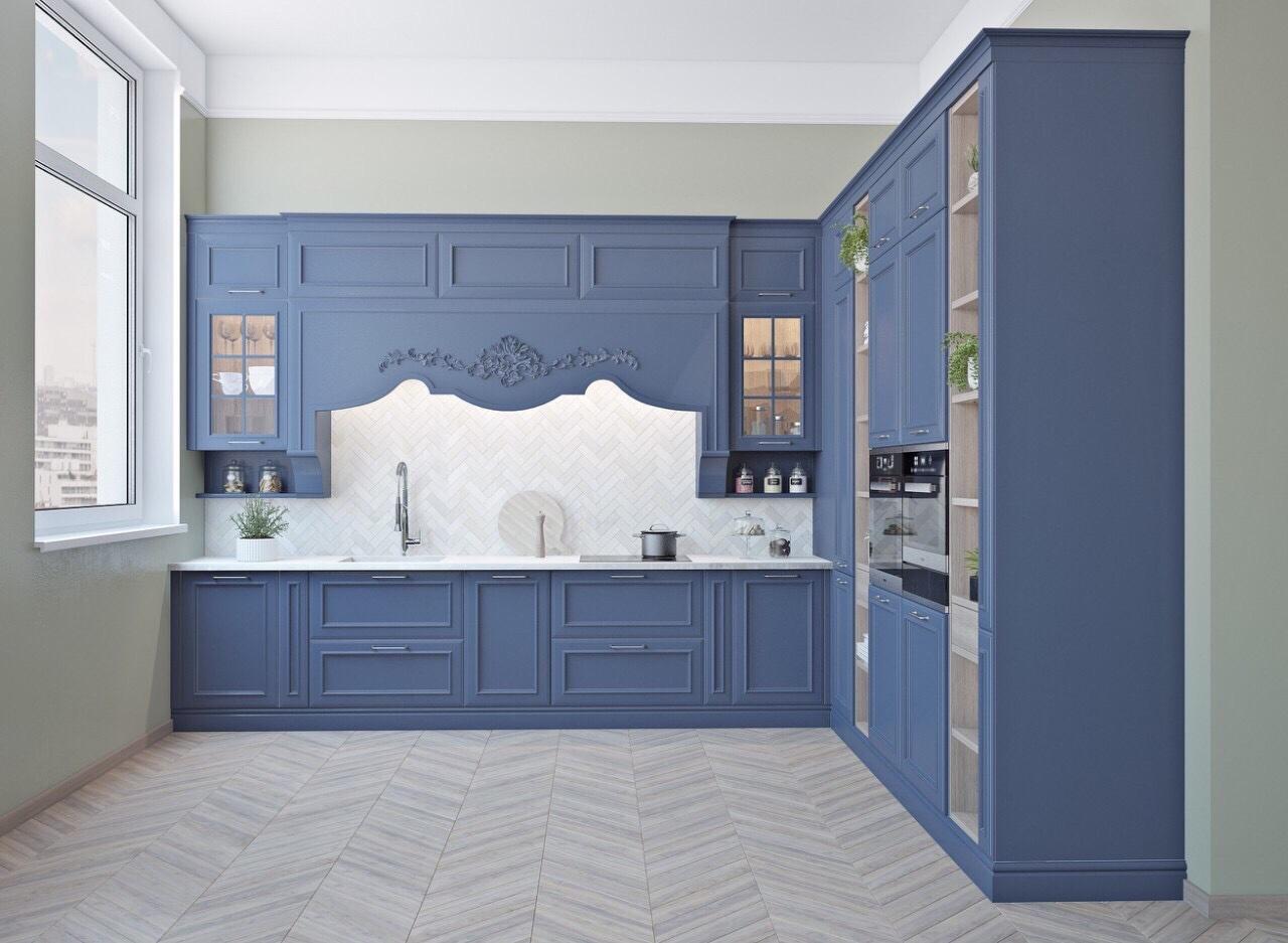 Holzküche Blau