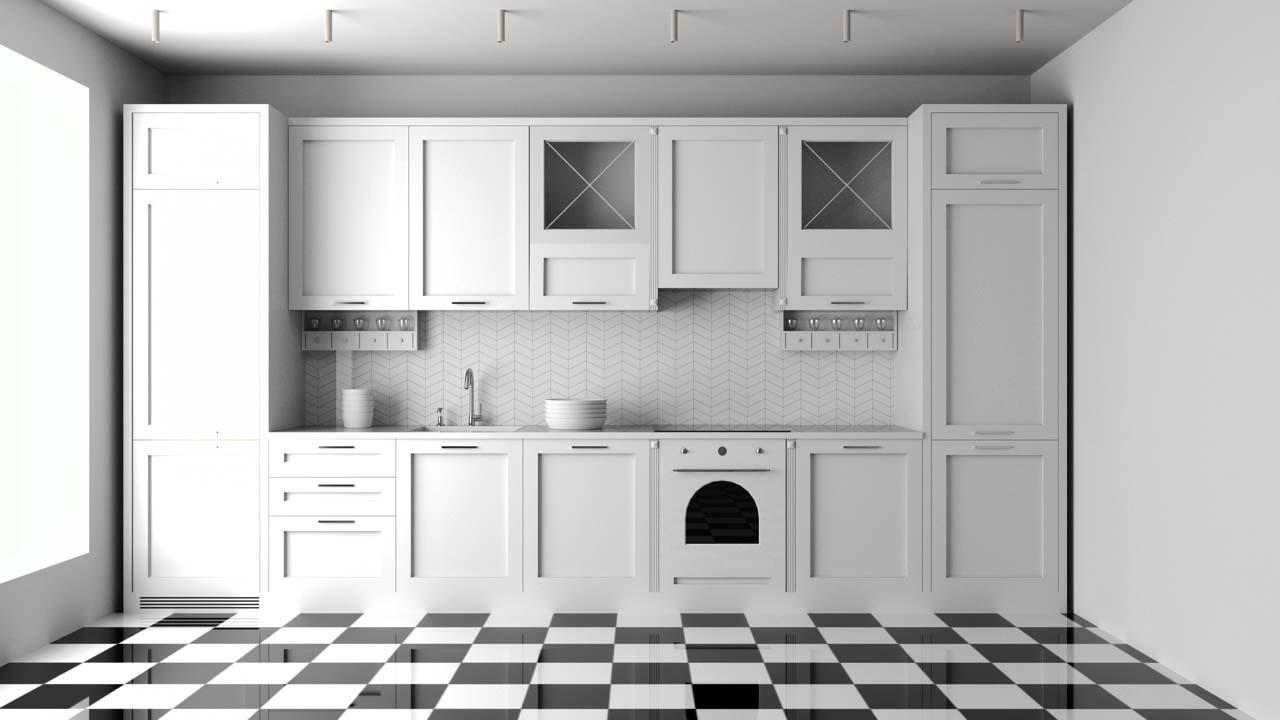 Holzküche Weiß