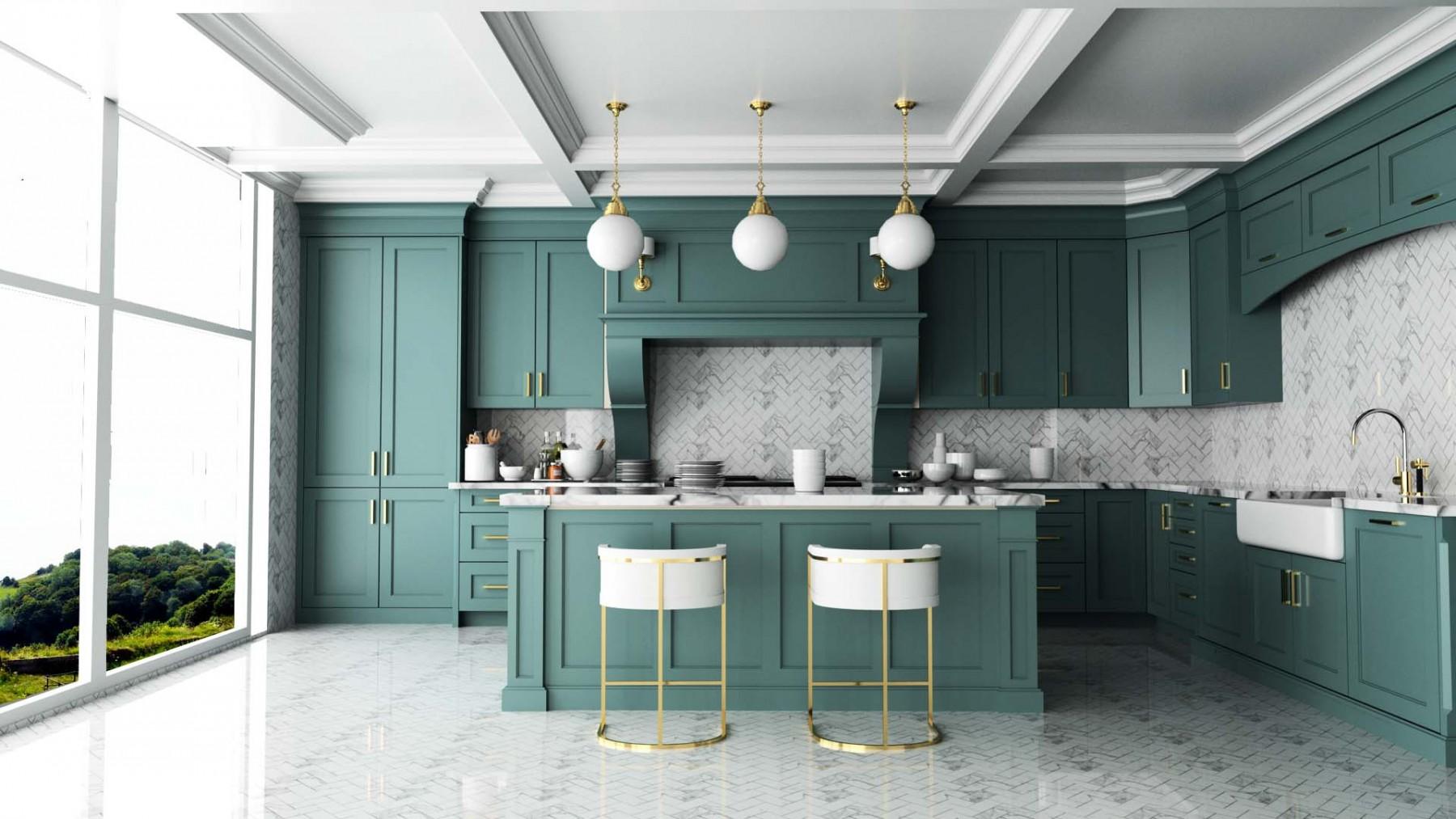 Holzküche Azurblau